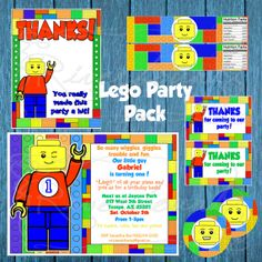 Lego Printable Party Pack with Invitation, Water Bottle Labels, Thank You Cards, Favor Tags and Cupcake Toppers