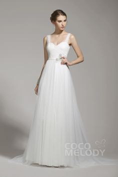 Straps Sleeveless Wedding Dress #weddingdress #cocomelody