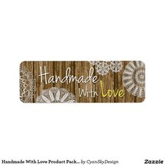 Handmade With Love Product Packaging Stickers / Return Address Label #handmade #handmadewithlove #etsy #crafter #craft #marketing #packaging #tags #labels #sticker #smallbusiness #shabbychic #country #wood #doily