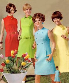 Retro fashion pictures from the and 60s And 70s Fashion, Mod Fashion, Vintage Fashion, Office Fashion, 1960s Dresses, 1960s Outfits, Sun Dresses, Sheath Dresses, Party Dresses