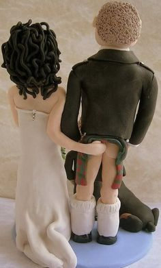 Wedding, Cake Topper, Bride and Groom, Kilt, Cheeky Scottish Wedding Cakes, Funny Wedding Cake Toppers, Wedding Topper, Scottish Weddings, Celtic Wedding, Irish Wedding, Our Wedding, Dream Wedding, Kilt Wedding