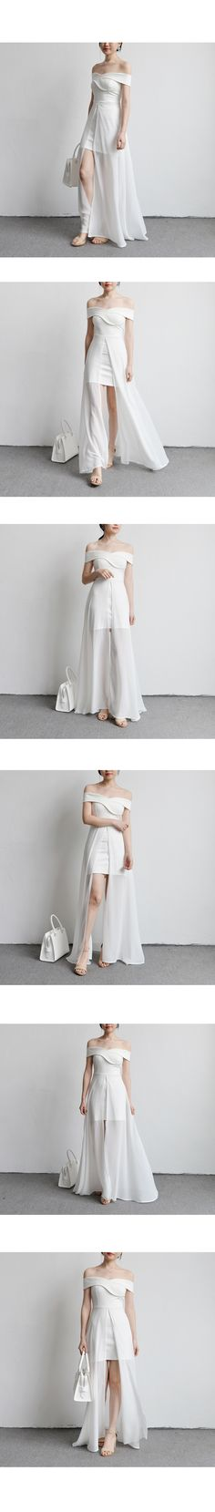 TANSSHOP东南亚弧形一字领露肩网纱开叉长裙修身连衣裙礼服裙D149-淘宝网