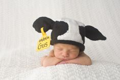 Knitted Newborn Cow Hat Pattern with by Knittingmore on Etsy, $6.00