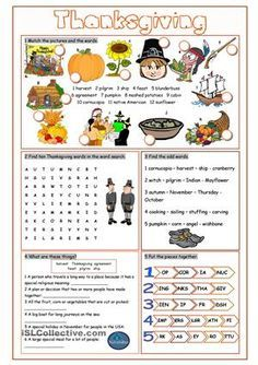 Thanksgiving Vocabulary Exercises