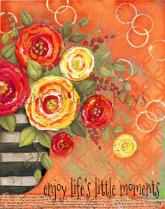 Orange Flower Vase Enjoy Life's Little Moments Wall Art Print. Archival quality print of one of my original mixed media illustrations Enjoy Lifes Little Moments Flower Vase Wall Art Print Dimensions:8x10 image centered on 8.5x11 paper OR Dimensions:11x14 image centered on 12x15 paper Printed on Epson Velvet Fine Art Paper ~All prints are packaged in a board backing and cello bag and mailed in protective hard envelope. ~The watermark does not appear on the actual print. ~Ships within one…