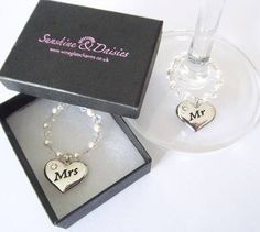 Mr & Mrs - a duo of wine glass charms £13.95 delivered