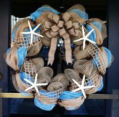 Starfish deco mesh wreath...