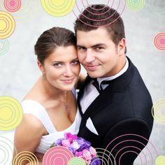 """Carte de remerciements mariage """"Cercles de joie"""", Enveloppes couleurs offertes : http://www.lips.fr/impression/carte-remerciement-mariage/format-130-x-130-2p-modele.html?modele_id=401"""