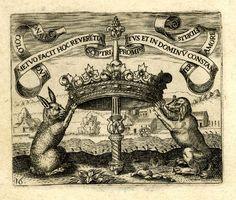 Emblem; A crown and sceptre is held up and supported by a rabbit and dog; illustration from the brothers de Bry's 'Emblemata Saecularia' (Frankfurt). 1592 -