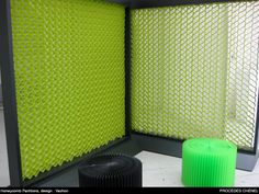A room divider made from paper in a honeycomb cell type fashion. Could get real interesting really fast!