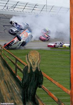 The Scream Painting Watching a NASCAR Race