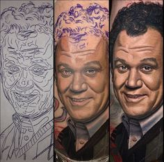 Nikko Hurtado tattooed this spiffy John C. Reilly from his role in Step Brothers. And yes, there is a matching Will Ferrell. #InkedMagazine #portrait #realism #Inked #tattoo #tattoos #ink #progression