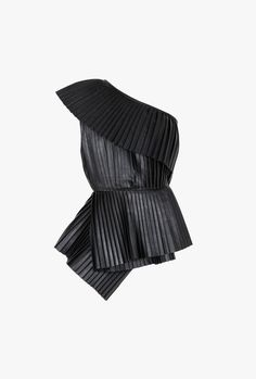 A dramatic tulle cape or off-the-shoulder top can really make an outfit—just add jeans and go. Shop the 19 best, including this Balmain One-Shoulder Pleated Leather Top.