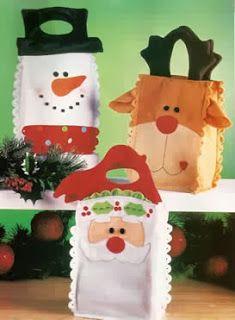 ARTE COM QUIANE - Paps,Moldes,E.V.A,Feltro,Costuras,Fofuchas 3D: Molde sacola para Natal {Rena,Boneco e Noel}