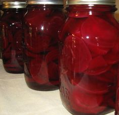 Pickled Beets from Food.com: My bosses wife gave me this recipe that used to belong to her mother. They are wonderful and easy to make. For my first canning experience she had fresh beets and leftover liquid so she sent me home with them, the recipe, her canner and jarss. I have been canning ever since. (Regarding Pressure canners: I dont have a pressure canner however I checked one of my canning guides and it stated to process pints of pickled beets at 10 lbs for 10 minutes. Thats...