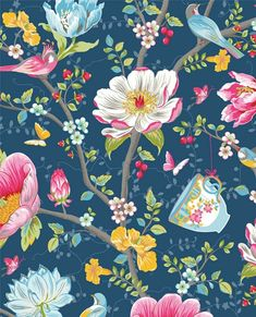 Pip Studio the Official website - Chinese Garden wallpaper dark blue Bedroom Wallpaper Flowers, Garden Wallpaper, Flower Wallpaper, Wall Wallpaper, Pattern Wallpaper, Iphone Wallpaper, Dark Blue Wallpaper, Blue Wallpapers, Colani