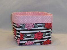 Rose And Striped Themed Fabric Basket For Storage Or Gift Giving