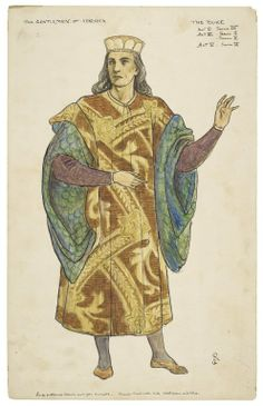 Walford Graham Robertson. Costume illustration for the Daly production of Two Gentlemen of Verona. The Duke. Watercolor, late 19th or early 20th century. Folger Shakespeare Library.