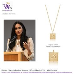 Meghan's Surprise Visit to Robert Clack School for International Women's Day Meghan Markle Outfits, Surprise Visit, Princesa Diana, Prince Harry And Meghan, Celebrity Weddings, Charmed, Pendant Necklace, How To Wear, Duke