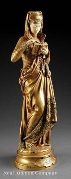 sculpture, France, Albert Ernest Carrier-Belleuse (French, 1824 to 1887) sculpture, <b><i>Liseuse</i></b>, ivory and gilt bronze, signed on self-base with an applied plaque inscribed with title and Salon award Liseuse/Par Carrier-Belleuse/Grand Prix du Salon.