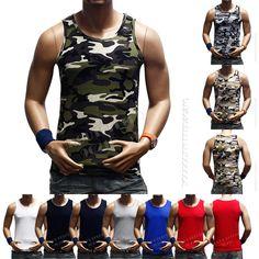 Men's Plain T-Shirts Tank Top Muscle Camo Sleeveless Tee S~3XL A-Shirt Cotton  #Youroutfitter90210 #ShirtsTops
