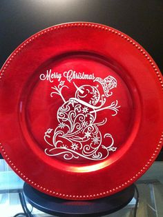 Christmas Decoration Charger Snowman And Santa By Lovebuggifts1 12 00 Cricut Ideas Vinyl
