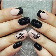 Incredible Combo French Tip Nails And Mandala Art ❤️Mandala nail art is intricate, popular and Bohemian that is why we invite you to have a closer look at our mandala nails designs collection!❤️ See more: naildesignsjourna. Hot Nails, Swag Nails, Pink Nails, Hair And Nails, Lace Nails, Stylish Nails, Trendy Nails, Elegant Nails, Mandala Nails