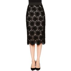 Dolce & Gabbana Daisy-Lace Pencil Skirt (63,370 INR) ❤ liked on Polyvore featuring skirts, scalloped lace skirt, scallop hem skirt, daisy skirt, daisy print skirt and lace overlay pencil skirt