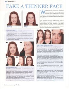 WeighLess Magazine August 2012. Face Contouring. (how to make you face and lips look thinner. )
