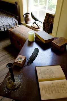 Edgar Allan Poe's dorm room at University of Virginia.  Many of his manuscripts and early publications can be found at the Small Special Collections Library, U.Va.
