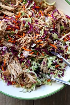 Instant Pot Chopped Chinese Pork Salad--pork loin is cooked until tender and then tossed with shredded cabbage, cashews, quinoa and sesame dressing. Pressure Cooker Recipes, Pressure Cooking, Slow Cooker, Super Healthy Recipes, Healthy Foods To Eat, Beef Gyro, Quinoa Benefits, Pork Salad, Chinese Pork