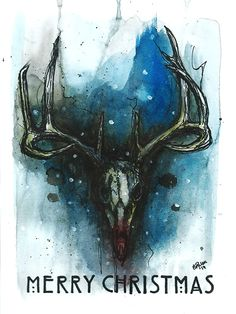 Christmas card reindeer skull. Rudolph a5  Pen and ecoline