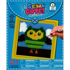 "This project is ""sew cute!"" Kids can make this adorable owl needlepoint in just a few hours!"