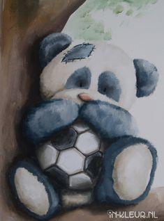 muurschildering babykamer beer panda voetbal