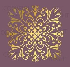 Large Wall Damask Stencil Pattern Faux Mural 1020 by Lightsforever, $12.75