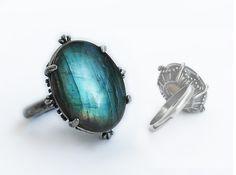 Blue Labradorite Ring Labratorite Jewelry Green by Aranwen on Etsy,