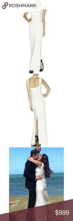 """Herve Leger Estrella Wedding Gown The Estrella Gown in """"Alabaster"""" White. Made by Herve Leger and purchased at Neiman Marcus. The most rad, modern wedding dress ever. Sold out now in X-Small. I wore this one time on my wedding day and just got it professionally dry cleaned. I will ship in original box with all the original tags. Paid $1359 + tax. Not in a hurry to sell but looking for the right new owner for her special day. Available for any questions or proof of authenticity.  I have…"""