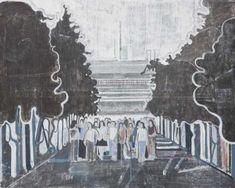 David Korty: Untitled (students under black trees), 2008