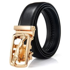 Men's Fashion Genuine Leather Belts Gold Automatic Buckle Luxury Black Strap Designer on AliExpress