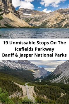 19 unmissable stops on the Icefields Parkway in Banff and Jasper National Parks - along with suggestions on where to hike and spend the night #IcefieldsParkway #BanffNationalPark #JasperNatrionalPark #roadtrip #bucketlist #unmissablestops #besthikes Banff National Park, National Parks, Cool Places To Visit, Places To Go, Alberta Travel, Glacier Lake, Canada Destinations, Canadian Travel, Visit Canada