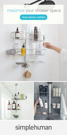 Hanging, standing or floor to ceiling — find the right shower caddy for your shower space.