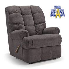 Rogers Furniture presents Sink into the burly, brawny Bruticus to ease your body after a long day on the job. Part of our Beast® line of recliners that feature a heavy-duty frame with heavily reinforced joints, a 7-gauge mechanism and tested to withstand 400 pounds of everyday use.  The quilted, shirred back cushion and thick seat offer plush, yet sturdy padding that'll put any recliner to shame. Recliners | The Beast | BRUTICUS | Best Home Furnishings