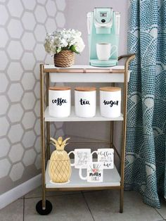 30 Coffee Bars to Put Pep in Your Home Design Budget Coffee Bar Cart Coffee Nook, Coffee Bar Home, Coffee Carts, Home Coffee Stations, Coffee Corner, Office Coffee Station, Coffe Bar, Coffee Maker, Coffee Tables