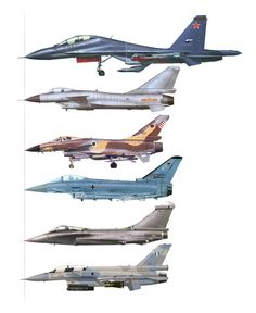 Six modern fighter jets