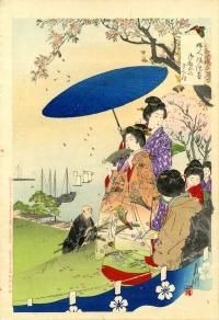 CHERRY BLOSSOM VIEWING BY GEISHA IN SPRINGTIME