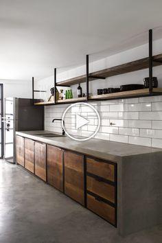 Industrial Kitchen Design, Industrial Restaurant, Industrial Living, Kitchen Interior, Kitchen Decor, Kitchen Living, Rustic Industrial, Kitchen Wood, Industrial Bathroom