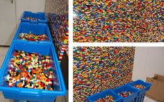 Appealing Look Of The Lego Wall Divider With Colorful Lego Pieces Near The Blue Lego Storages