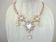Rose Gold Crystal Pendant Bridal Statement Necklace