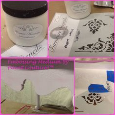 Embossing Medium by Paint Couture! Used on furniture with our Furniture Stencil called Leather.  www.paintcouture.com