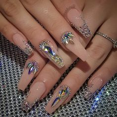 32 super cute nail art ideas for long nails in 2019 00133 com is part of nails - nails Rhinestone Nails, Bling Nails, Bling Nail Art, Bling Wedding Nails, Jolie Nail Art, Nagel Bling, Gem Nails, Nude Nails, Nail Gems